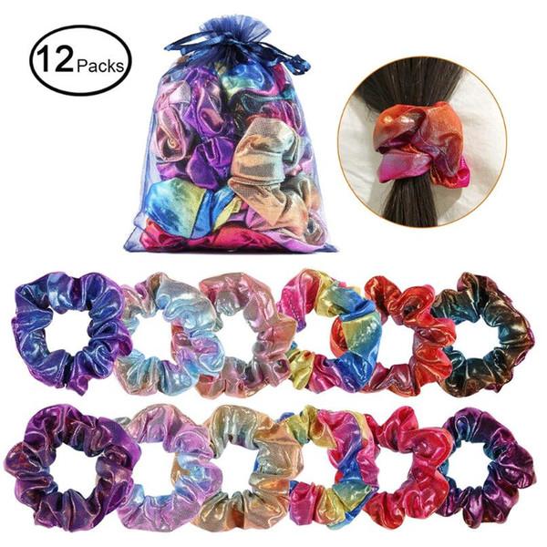 Scrunchie cravatte per capelli glitterate per capelli per ragazze Portamonete a corda Corde colorate elastiche per capelli Accessori per capelli da donna
