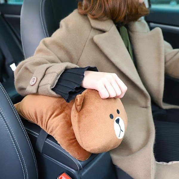 Plush High Elasticity Cotton Universal Soft Cute Car Cartoon Anime Theme Dog Bear Rabbit Armrest Tissue Box C19042101