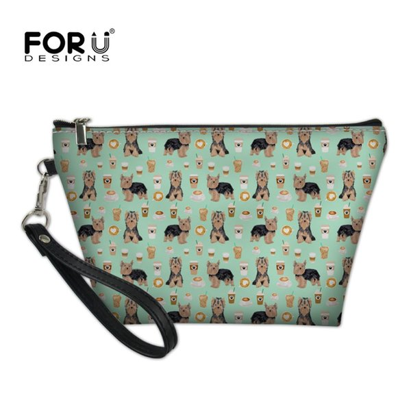 FORUDESIGNS Norwich Terrier Printing Women Cosmetics Make Up Bag Toiletry Travel Organizer for Ladies Mini Pouches Vanity Case