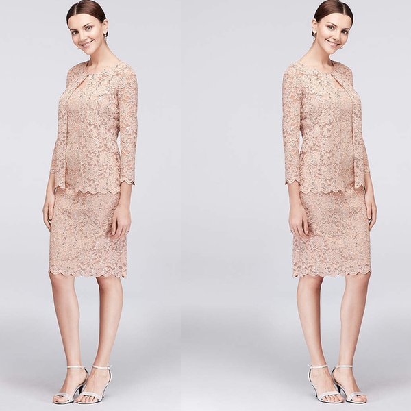 Light Pink Full Lace Mother Of Bride Dresses 3 Pieces Jewel Neck Skirt Suits Formal Women Clothes For Wedding Party