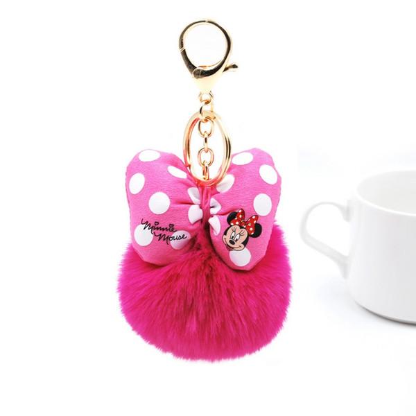 2019 Fluffy Coniglio Palla di pelo Portachiavi Per Le Donne Pompon Bunny Fur Bowknot Portachiavi Borsa Portachiavi Auto Gioielli Regalo di Nozze