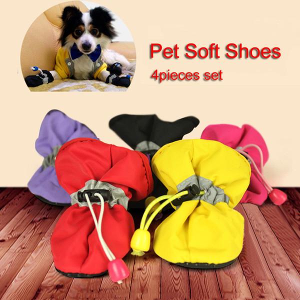 Маленькие собачки Кошки Тонкие сапоги Носки 4шт. / Компл. Pet Dog Soft Shoes 7 Размер противоскользящего щенка Водонепроницаемые пинетки Носки противоскользящие обувь DH0987