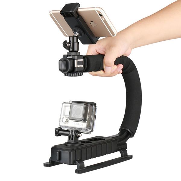 Montura en U Triple 3 para zapatas Acción de video Estabilizador de manija Agarre Se adapta a la mayoría de las cámaras y videocámaras compactas
