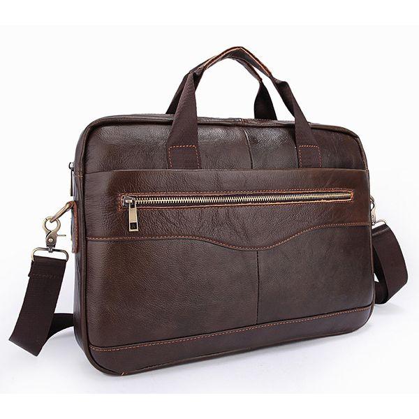 Hot Selling Guarantee Genuine Cow Leather Classic Brown Men's Unique Design Briefcases Laptop Handbag Busniess Crossboday Bag