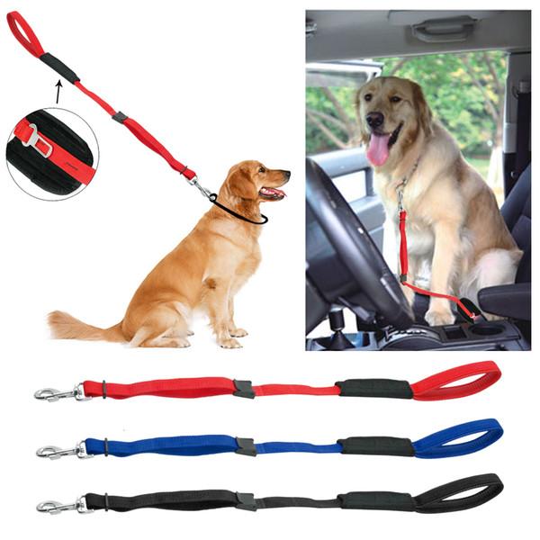 Soft Padded Handle Nylon Dog Car Travel Seat Belt Dogs Walking Leads 3 Colors Adjustable Wholesale