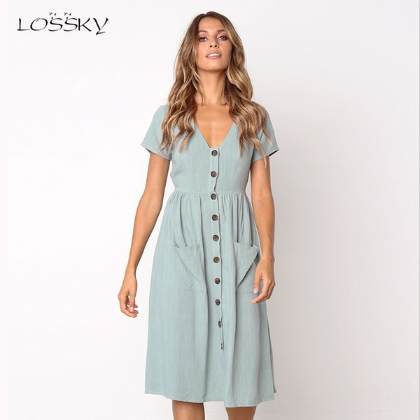 lossky women casual a line dress v neck solid polyester summer dresses for women knee length dress pockets elegant beach, Black;gray