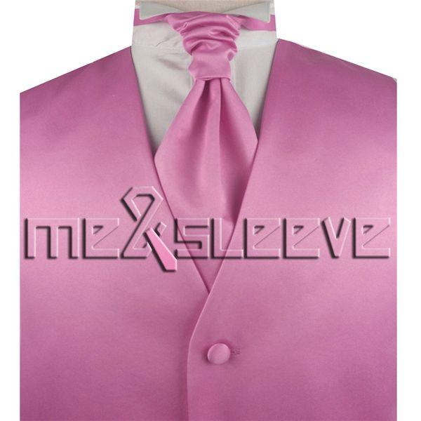 Men's plain light pink waistcoat for wedding dresses(vest+ascot tie+cufflinks+handkerchief)