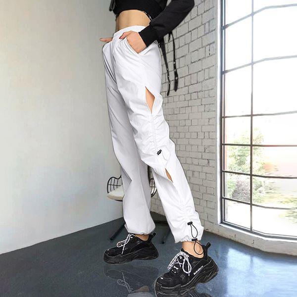 2019 Elastik Yüksek Bel Beyaz Pantolon Kadın Moda Pileli Delik Uzun Pantolon Pantalon Pantolon Kadın Rahat Kargo Yüksek Sokak