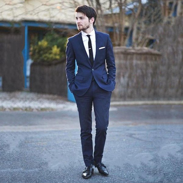 Hot Selling Navy Blue Slim Fit Men's Tuxedos Notched Lapel One Button Wedding Suits for Men Cheap Blazer and Pants