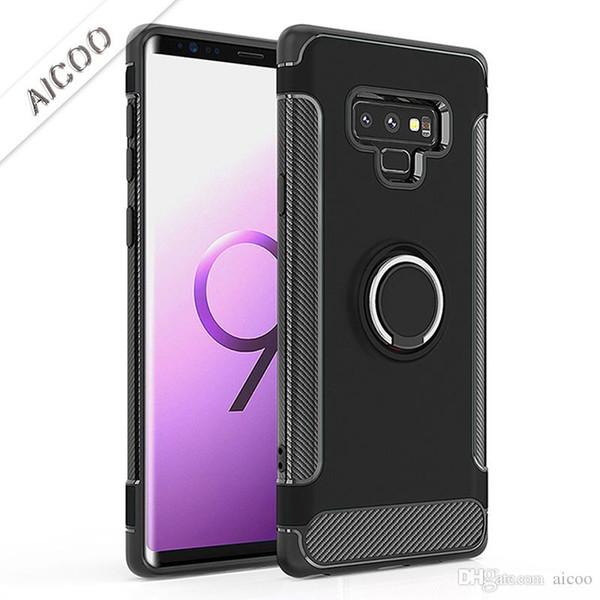 Aicoo Hybrid Armor Ring Holder Case Cubierta de carbono magnética para iPhone XS XS MAX XR X 8 Plus Samsung NOTA 9 S10 S9 J6 Prime J7 A7 2018 OPP