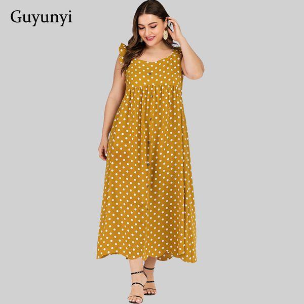 Dot Casual Summer Dress 2019 Sem Mangas Botão Decorativo Fit E Flare Mid-Calf Longo Plus Size Vestido Mulheres