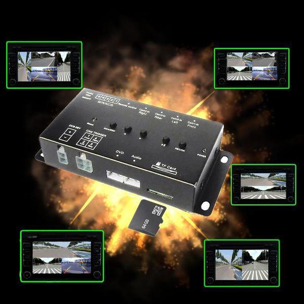 Tarjeta SD Mini grabador de coche inteligente DVR Monitoreo de conducción panorámica Grabador de tráfico cuatro vistas video 4 canales CCd cámara coche dvr