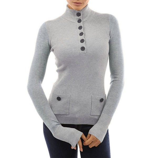 Autumn Women's Patchwork Button Down Knitted Thermal Full Sleeve Top Female Turn Down Collar Shit