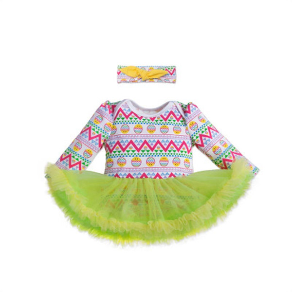Kids Designer Rompers Set Easter Baby Girl Onesies Floral Print Headband Long Sleeve Envelope Round Neck Two-Piece Romper 61