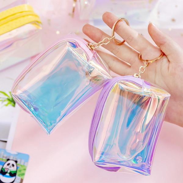 201909 Holografik Sikke çanta Anahtarlıklar 4 Renkler Lazer Şeffaf Para Şarj Kılıfı Cüzdan Anahtarlık Kız Kadın Sikke çanta Saklama Çantası M224F