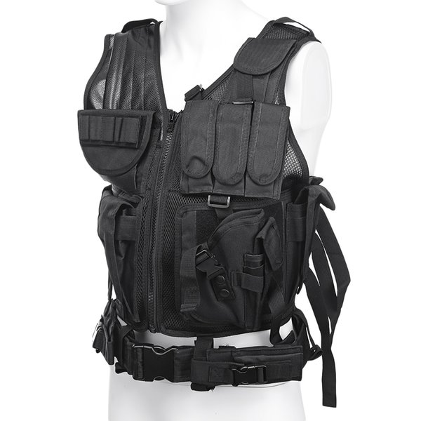 Tactical Paintball Swat Assault Shooting Hunting Molle Vest with Holster