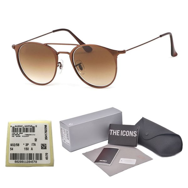 New Arrial Brand design Round sunglasses women men Metal Frame glass lens Retro Vintage Sports sun glasses Goggle with free cases and label