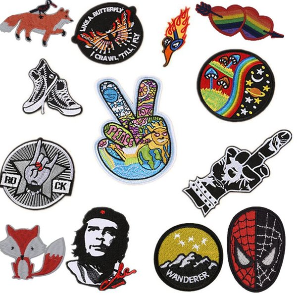 New Mushroom Gesture Shoes Embroiderer Patches Iron On Clothing Cute Badge Applique Patch Fashion Stickers DIY Stripes Clothes
