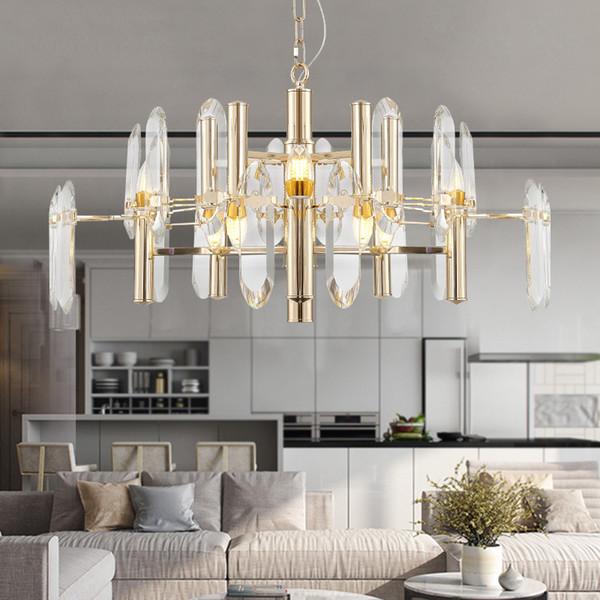 Altın tasarımcı kristal avize oturma odası yatak odası yuvarlak yemek odası lamba LED kolye ışıkları E14 kristal aydınlatma armatürü
