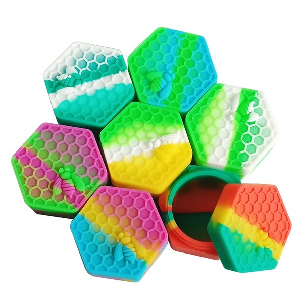 MOQ=1PCS FDA approved 26ML Honeybee Hexagon Dab Box Bee Insects Container Non-stick Silicone Oil Kitchen Storage Mix Decorative Box
