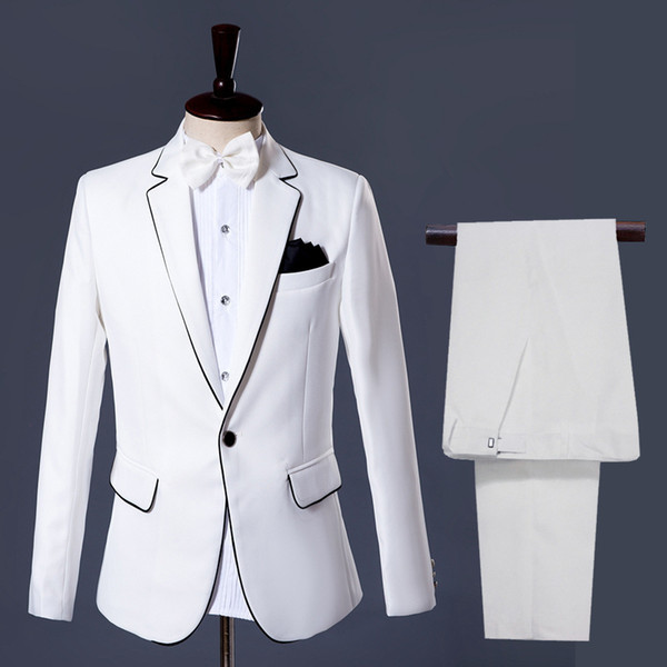 Men's Suits Stage Dresses White And Black Laces Mens Suit Skinny Regular Coat Pants White Single Breasted Smart Casual Men Suits