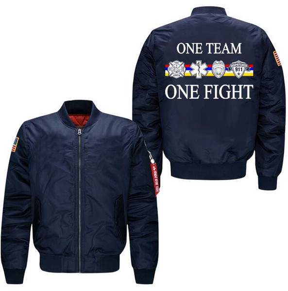 2018 fashion winter thick ONE TEAM ONE FIGHT Men's Bomber Jacket Men's cotton clothes Pilot jacket casual wear sportswear