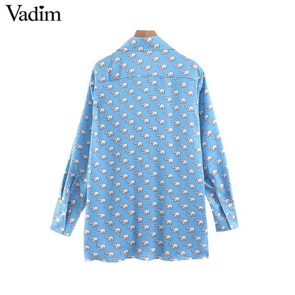 4cd6f3ef85a Vadim mujer animal print blusa azul bolsillos vintage manga larga elegante  mujer camisas casuales estilo de dama de oficina tops blusas LB140