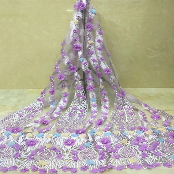 African Lace Fabric Lilac White 3D Appliques Fabric High Quality Beaded Lace Fabric African French Tulle Lace For Wedding RG121