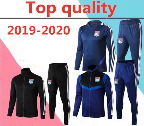 Высокое качество 2019 Olympique lyonnais Soccer Jogging Футбольный спортивный костюм 18-19-20 Lyon взрослый длинный молния куртка Футбольный спортивный костюм