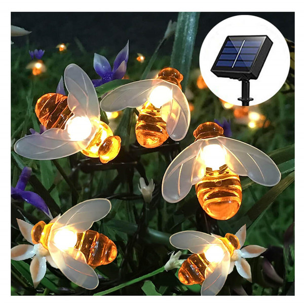 Solar String Lights 20LED Outdoor Waterproof Simulation Honey Bees Decor for Garden Xmas Decorations Warm White