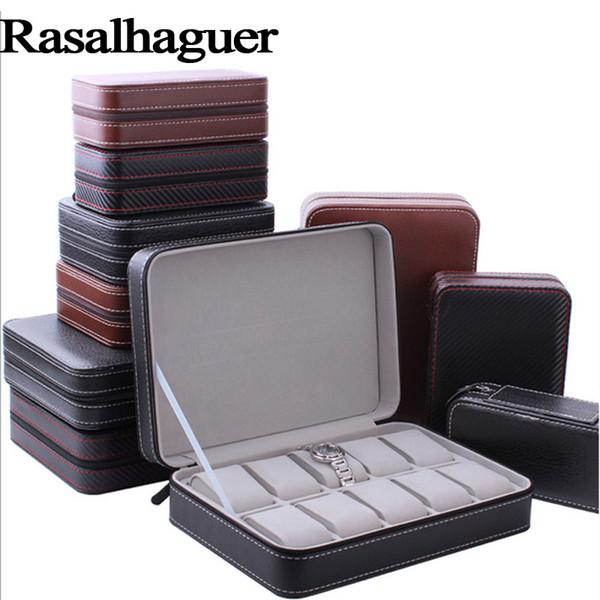 Luxury Organizer Box 10 Grids Leather Zipper style Watch Jewelry Box Jewellery Watch Collector Cases travel storage Wholesale