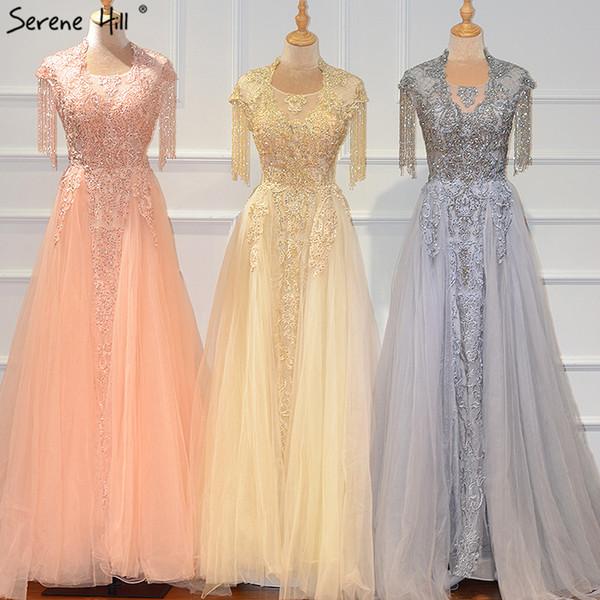Dubai Peach Sleeveless Tassel Evening Dresses Design 2019 O-Neck Luxury Diamond Evening Gowns Serene Hill