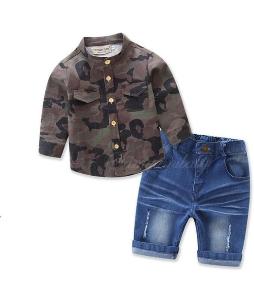 2019 Boys clothes set kids camouflage long-sleeved loose-fitting shirt+Bull-puncher knickers 2pcs boys clothing set
