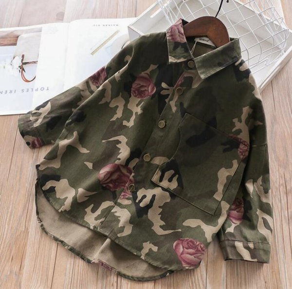 Fashion Spring Girl Camouflage Shirts Kids Clothing Printed Rosette Floral Blouse Casual Tops baby clothes