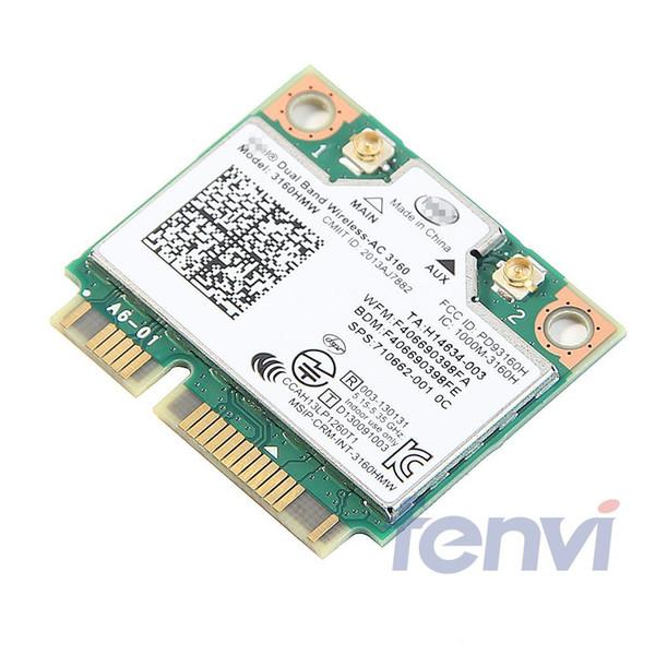 banda dual de doble banda Wireless-wireless- para Intel 3160 3160HMW 802.11 Wifi + Bluetooth 4.0 Mini PCI-E tarjeta de 2.4G y 5 GHz 802.11a / b / g / n /