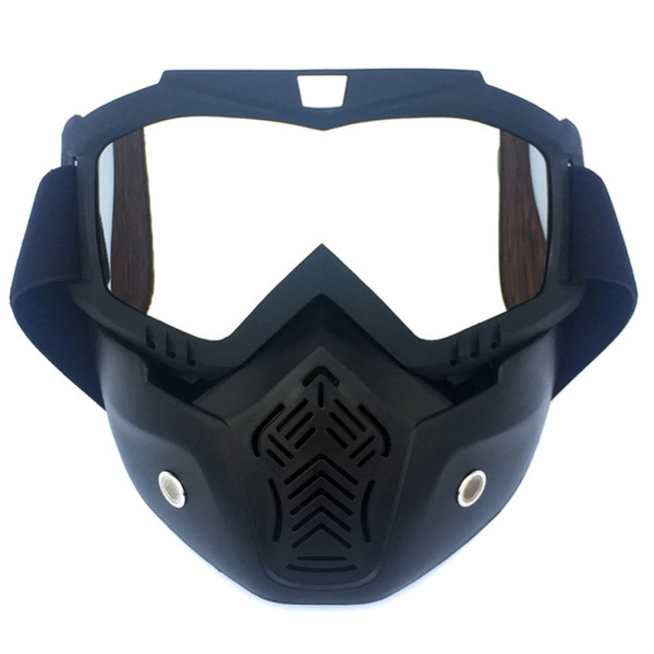 Motorcycle cycling Goggles Upgrade Motorbike Helmets Face Mask Glasses Detachable Off-road Skiing Mask Accessory 2019