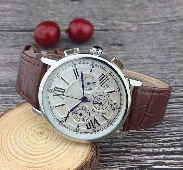 Nuovi quadranti tutti funzionanti cronometro da uomo orologi di lusso con calendario cinturino in pelle top brand orologio da polso al quarzo per uomo di alta qualità