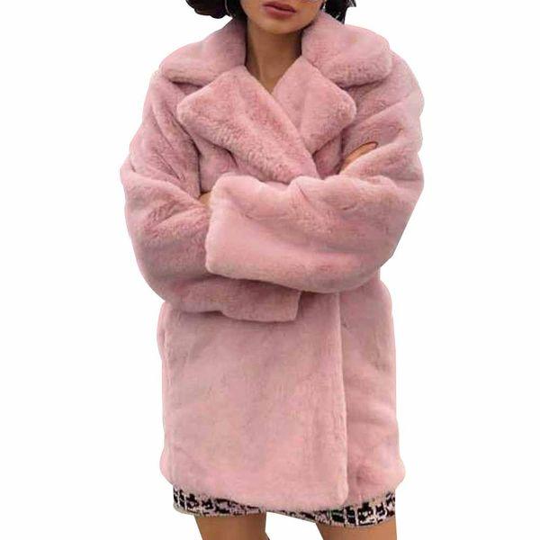 FIRSTTO Stylish Winter Pink Shaggy Hairy Faux Rabbit Fur Coat Turn-down Collar Keep Warm Furry Fur Jacket Femme Outwear Tops