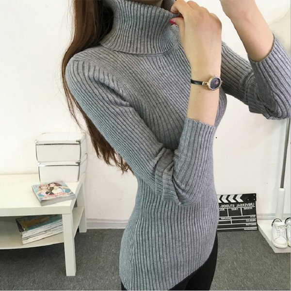Autumn 2019 Casual Women Turtleneck Knitted Sweaters Korean Long Sleeve Elastic Pullovers Knitwear Shirt Tops Ladies Sweaters