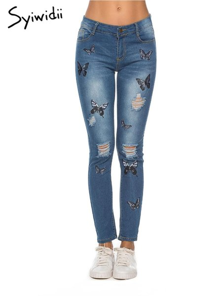 jeans déchirés pour femmes Pantalons de style de rue brodés Pantalon slim crayon Full Length Mid taille Hole Hollow Out jean stretch