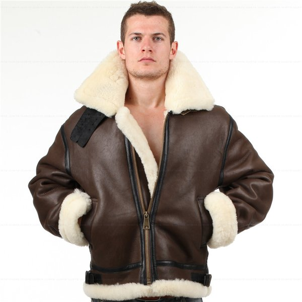 B3 shearling Leather jacket Bomber Fur pilot World II Flying aviation air US Force The most warm Polar Coat Men Women
