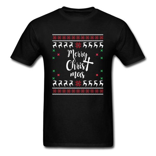 Merry Christmas T Shirt Christian Christmas Holiday T Shirt Men Black Clothing Slim Fit Tops Hip Hop Tee Family Gift Tshirt