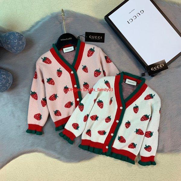 Suéter para niñas, ropa de diseño para niños, otoño e invierno, nuevo jersey de punto de algodón, diseño de patrón de fresa2019