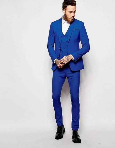 Brand New Royal Blue Groom Tuxedos Notch Lapel Groomsmen Mens Wedding Dress Popular Man Jacket Blazer 3 Piece Suit(Jacket+Pants+Vest+Tie)903