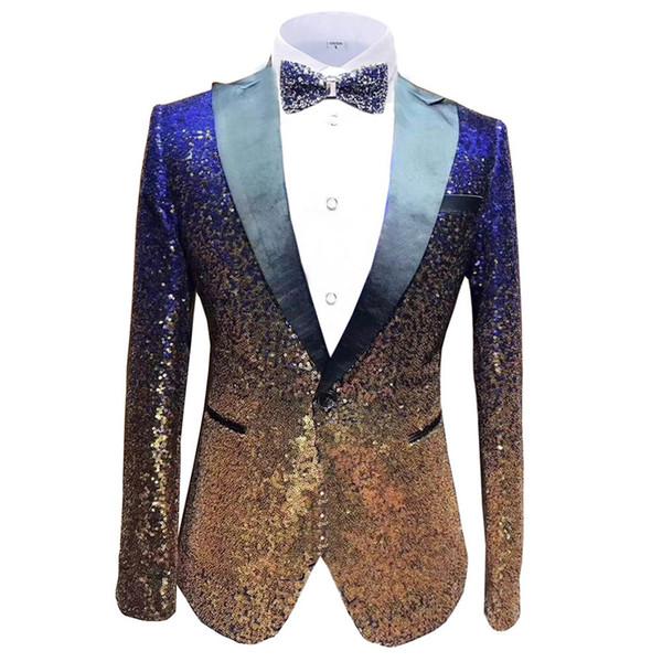 Aesido New Design Men's Suit Jacket Prom Tuxedos Bling Sequin Formal Dinner Party Blazer for Wedding Gooms 2020 DT191028