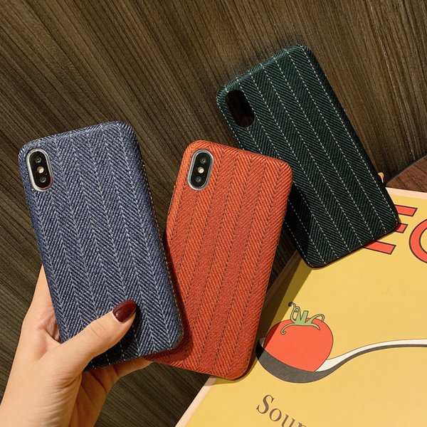 Fashion Retro Line Cloth Fabric Phone Cover Case for iPhone X Xr Xs Max 6 6s 7 8 Plus Half Pack Business Back Cover Shell Coque