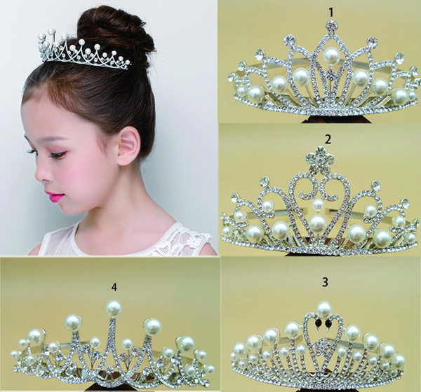 12 unids Brillo de diamantes de imitación y perla diadema tiara joyas de pelo corona accesorios para adolescentes Princess for Head Dia 11.5 cm