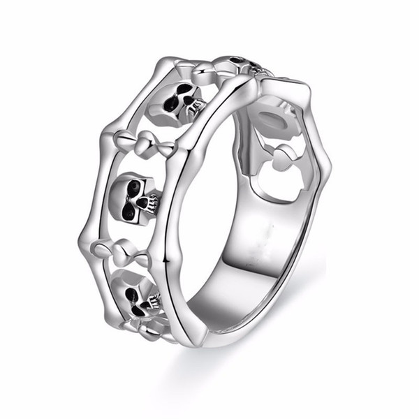 Halloween Gift Silver Retro Gothic Punk Rings 316L Stainless Steel Fashion Men's Women's Skull Rings Size 5-13