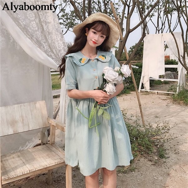 Preppy Style Femmes D'été Japonaises Robe Peter Pan Col Blanc Rose Vert Femme Robe Broderie Orange Mignon Kawaii Fille Robe