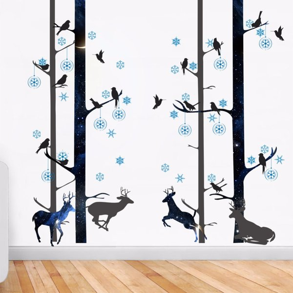 New 3D Deer Forest Birds Wall Stickers Home Decor Bedroom TV Sofa Wall Decals Self-adhesive Tree Branches PVC Art Mural Poster